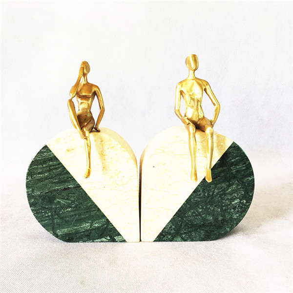 green marble bookend
