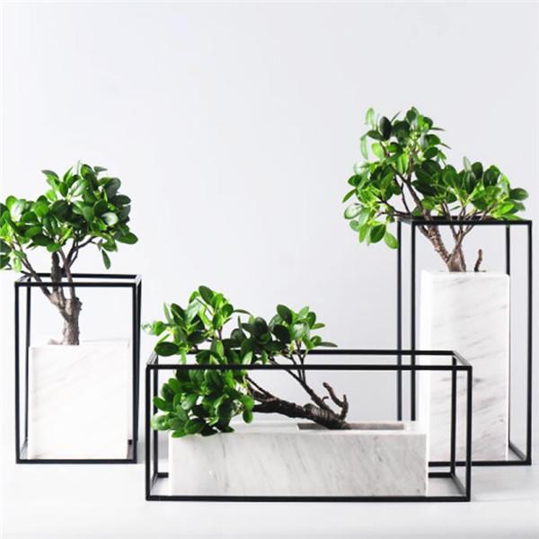 marble vase iron frame