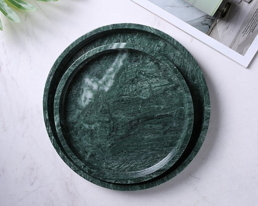 round green marble tray