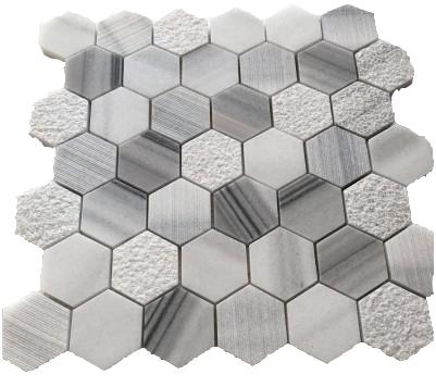 grey white hexagon wall tile