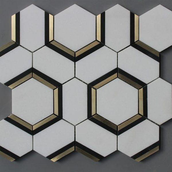 marble mosaic hexagon